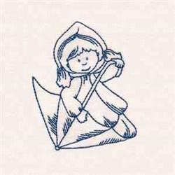 Bluework Rainy Day Girl embroidery design