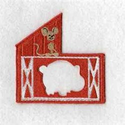 Puzzle Barn Pig embroidery design