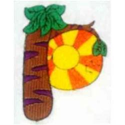 Animal Alphabet Letter P embroidery design
