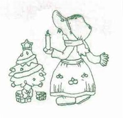 Bluework Sunbonnet GIrl embroidery design