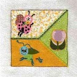 Ladybug Quilt Block embroidery design
