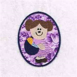 Girl Easter Egg embroidery design