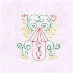 Birdhouse & Flowers embroidery design