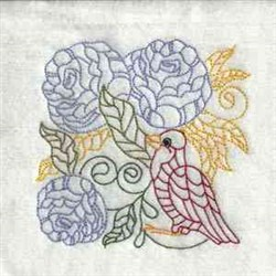 Bird In Flowers embroidery design