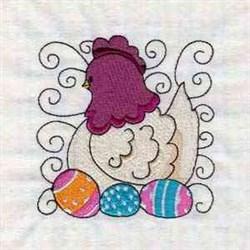 Chicken Swirl Blocks embroidery design
