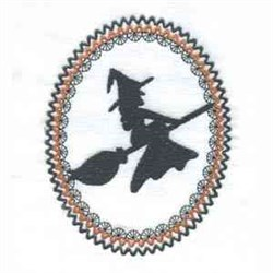Silhouette Flying Witch embroidery design