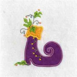 Witch Shoe Applique embroidery design