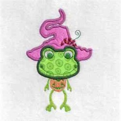 Frog Witch Applique embroidery design
