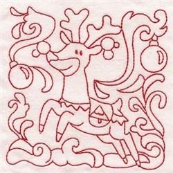 Reindeer Quilt Block embroidery design