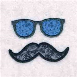 Moustache & Glases embroidery design