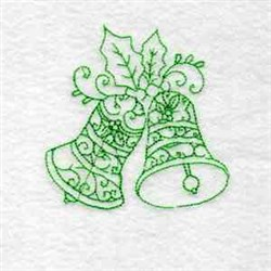 Redwork Holly Bells embroidery design