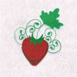 Swirl Strawberry embroidery design