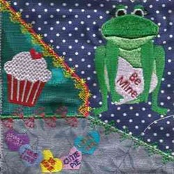 Valentine Frogs Quilt embroidery design
