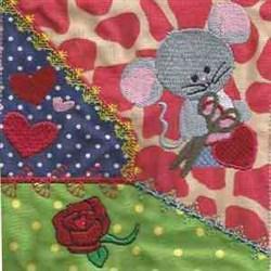 Valentine Mice Quilt embroidery design