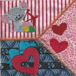 Valentine Mouse Quilt embroidery design