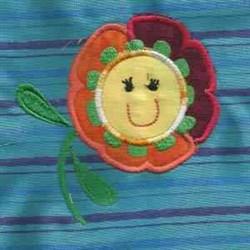 Applique Flower Face embroidery design