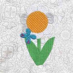 Daisy & Butterfly embroidery design