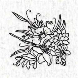 Black Work Blossom embroidery design