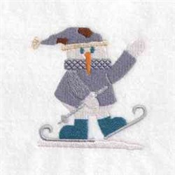 Skiing Snowman embroidery design