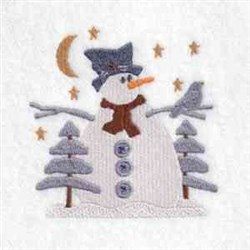 Winter Night Snowman embroidery design