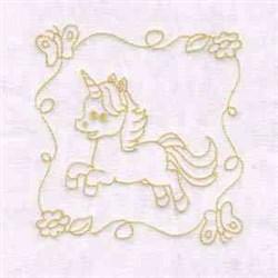 Unicorn Quilt Block embroidery design