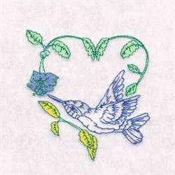 Hummingbird Vine embroidery design