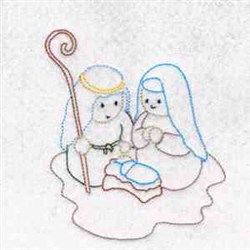 Nativity Family embroidery design