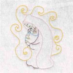 Mary & Baby embroidery design