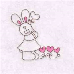 Heart Bunny embroidery design