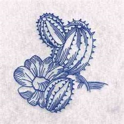 Redwork Cactus embroidery design