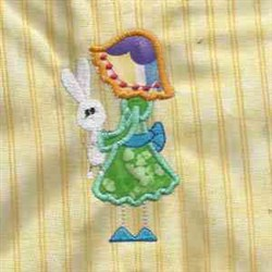 Girl & Bunny embroidery design