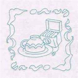 Tea Redwork Block embroidery design