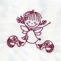 Fairy Redwork embroidery design