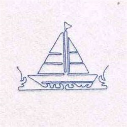 Redwork Sailboat embroidery design