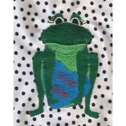 Kiss Me Frog embroidery design