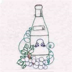 Wine Bottle embroidery design