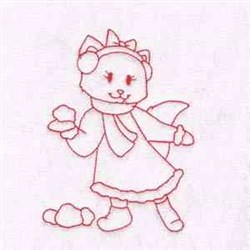 Snowball Kitty embroidery design