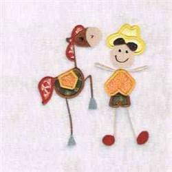 Happy Cowboy embroidery design