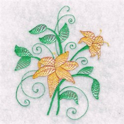 Abstract Flowers embroidery design