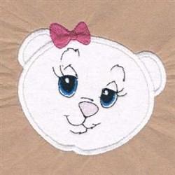 Bear Bow Applique embroidery design