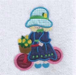 Bicycle Girl Applique embroidery design
