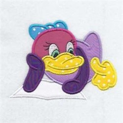 Ducking Reading Applique embroidery design