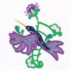Applique Flower Hummingbird embroidery design