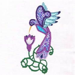 Applique Floral Hummingbird embroidery design