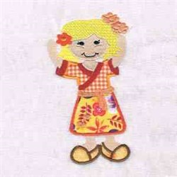 Applique Flower Hair Girl embroidery design