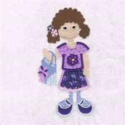 Bag Girl Applique embroidery design