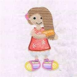 Girl Comb Applique embroidery design