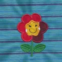 Applique Flower Smile embroidery design