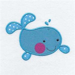 Applique Whale Friend embroidery design