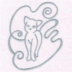 Kitty Swirl embroidery design